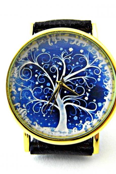Tree leather wrist watches, woman man lady unisex watch, genuine leather handmade unique watch #10