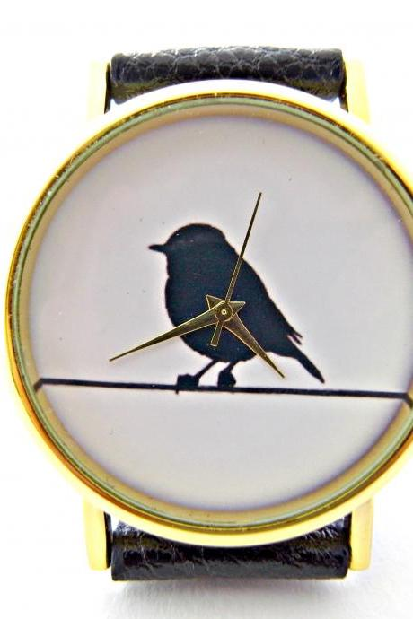 Bird On Wire leather wrist watches, woman man lady unisex watch, genuine leather handmade unique watch #21