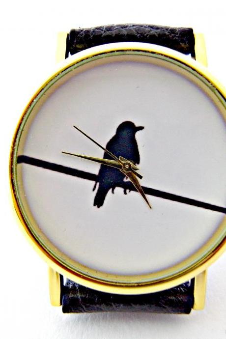 Bird On Wire leather wrist watches, woman man lady unisex watch, genuine leather handmade unique watch #24