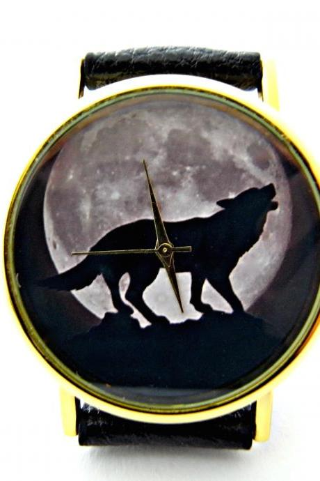 Wolf and moon leather wrist watches, woman man lady unisex watch, genuine leather handmade unique watch #27