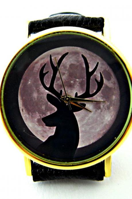 Deer and moon leather wrist watches, woman man lady unisex watch, genuine leather handmade unique watch #52