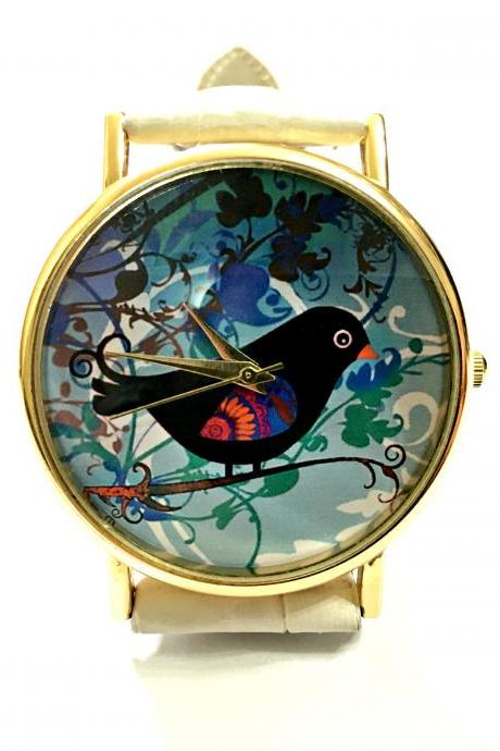 Birdle leather wrist watch, bird watch, woman man lady unisex watch, genuine leather handmade unique watch #94