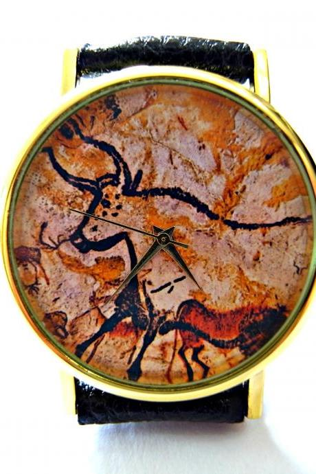 Cow, Cave Art leather wrist watch, woman man lady unisex watch, genuine leather handmade unique watch #103
