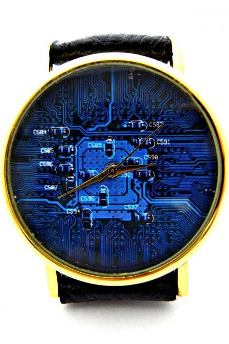 Circuit board leather wrist watch, woman man lady unisex watch, genuine leather handmade unique watch #117