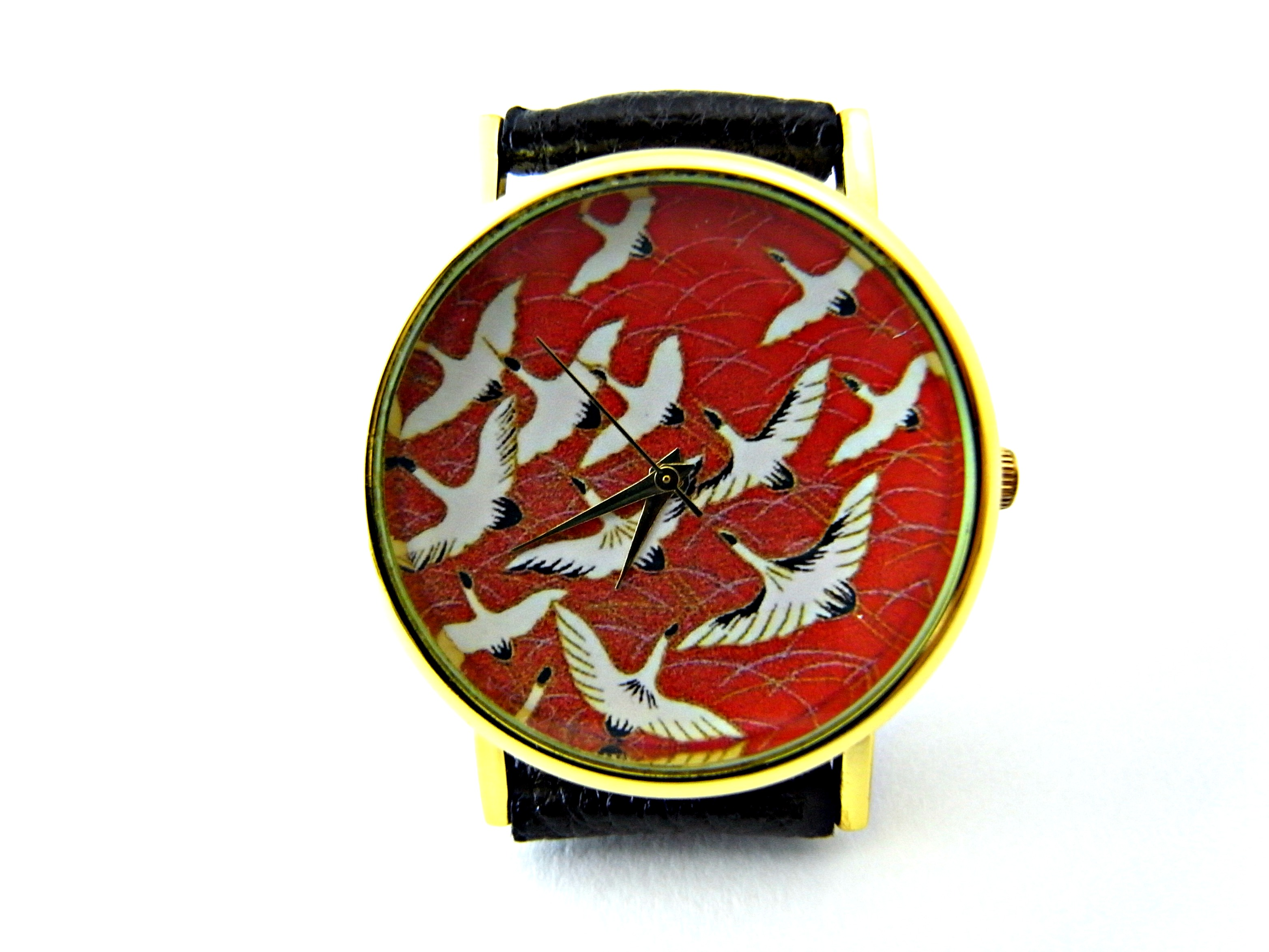 surveyor back watches small orient leather the business red in